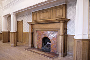 Fireplace Is Treated To Faux Oak Grain Finish