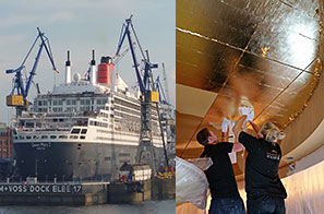 Germany - The team travel to Hamburg to work on Cunards QM2