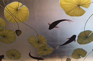 Japanese Style Murals On Gilded & Antiqued Leaf